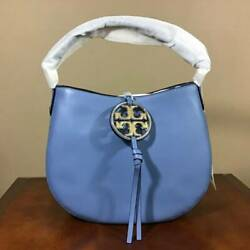 Tory Burch Miller Metal Mini Smooth Leather Hobo Shoulder Bag Bluewood Gold NWT $299.99