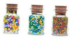 Apothecary Jars- Set Of 6 Glass Jars With Cork Stopper Lids, Made In 5oz