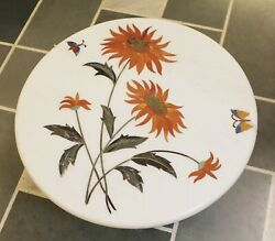 Marble Table Top Dining Center Sun Flower Inlay Agaria White Stone Rare Replica