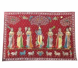 Embroidery Pichwai Wall Hanging Lord Krishna Gold Leafing Vintage Collectible