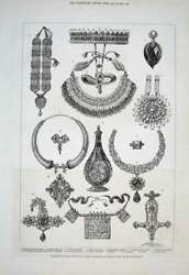 Original Old Antique Print Indian Jewellery Wales Gifts 1876 Victorian