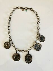 Lucky Brand Medallion Chain Necklace Antiqued Brass Tone Disk Hanging Charms 18