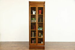 Victorian Antique 7and039 Tall Quarter Sawn Oak Bookcase China Cabinet 37810