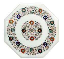 24 White Marble Table Top Coffee Center Home Decor Inlay Antique Malachite L6