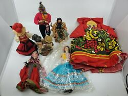 Vintage Lot Of 7 International Dolls Foreign Ethnic Souvenir Collection Tlc Used