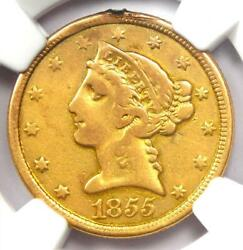 1855-o Liberty Gold Half Eagle 5 Coin - Certified Ngc Vf Details - Rare Date