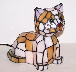 Stunning Htf Style Stained Glass Cat/kitten Bobble Head Accent Lamp