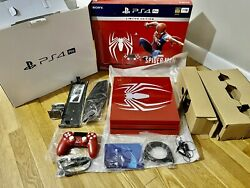 Sony Ps4 Pro Spider-man 1tb Red Console W/ Controller And Xtras - Free Overnight