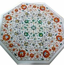 24 White Marble Table Top Coffee Center Home Decor Inlay Antique Antique L9