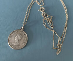 Vintage 925 Silver Queens Silver Jubilee Pendant On 18 Inch Chain/ Collectible