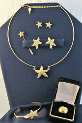 """Vintage Sarah Coventry """"sea Star Complete 6 Piece Set, Gold-tone Starfish"""