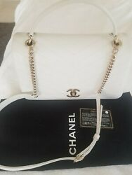 Authentic CHANEL Grained Calfskin Stitched Chevron Chic Top Handle Flap White $3750.00