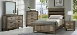 5-pc Rustic Styling Full Size Bedroom Bed Dresser Mirror Ns Set Wooden New