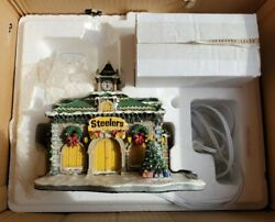 Danbury Mint Pittsburgh Steelers Depot Christmas Village In Box Nice Lighted