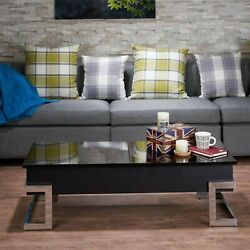 47 X 20 X 14-24 Black And Chrome Particle Board Coffee Table