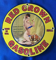 Vintage Style Red Crown Gasoline Advertising Sign Heavy Porcelain Sign 12 Inch