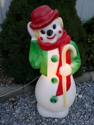 Vintage Empire 34 Hobo Clown W/ Candy Cane Snowman Blow Mold Working Usa