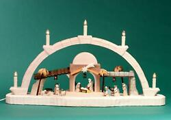 Candle Arches Carved Nativity Braun 14 3/16in Chandelier Bow Erzgebirge New