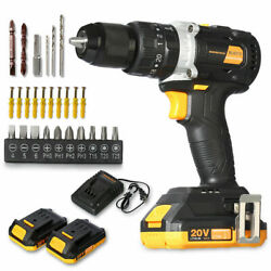 20v Brushless Motor Cordless Hammer Drill/driver With Bits Set And 2 Batteries