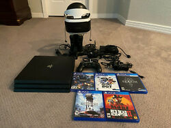 Ps4 Pro 1tb Bundle With Psvr, Controller, Charging Station, + Games