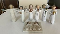 Willow Tree Lot 6 Figurines And Friendship Plaque Keepsake Learning Happiness