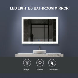 Wall Bathroom Mirror with LED Lights Anti fog Makeup Mirror Touch Screen 2 Sizes