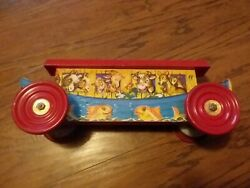 Vintage 1940's Gong Bell Mfg Co Noah's Ark 231 Pull Toy Wood Tin
