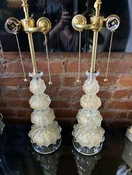 Vintage Pair Italian Murano Venetian Glass Table Lamp Barovier And Toso 24 Ct Gold