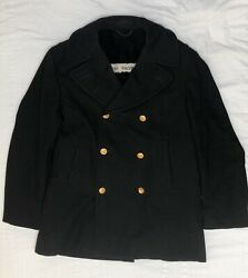 United States Navy Officers Vintage Pea Coat Gold Buttons Wool Usn