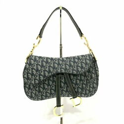 Christian Dior Trotter Double Saddle Bag Purse Navy Canvas Leather Vintage Italy