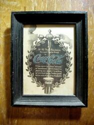 1907 Coca Cola At All Soda Fountains Framed Advertising Print Sign Blue Letters