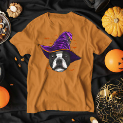 Boston Terrier Witch Funny Halloween Dog Lover T Shirt Unisex tee