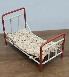 Antique Vintage Dollhouse Metal Bed And Mattress Painted Miniature Furniture