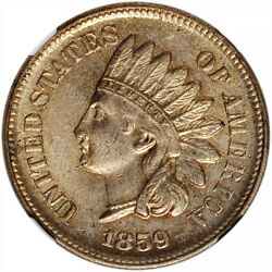 1859 1c Indian Head Cent Ngc Ms62 - First Year Of Issue