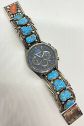 Old Pawn Native Sterling Chunky Turquoise Watch Band Sekio Chronograph In Box