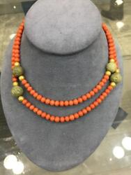 Natural Coral Bead No Dye And Genuine Hard Stone Necklace W/14k Gold Bead Accents