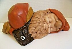 Vintage Lawn Gnome - Tan Rust And Brown Sleeping Cute Smiling Garden Patio Yard