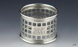 Attractive Old Sterling Silver Pierced Napkin Ring Monogrammed Mcc