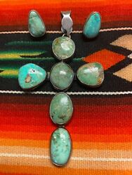 Federico Jimenez Turquoise And Silver Cross Pendant And Earrings Southwestern
