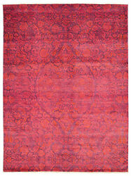 Modern Hand-knotted Carpet 8and03910 X 12and0390 Dark Pink Wool Area Rug