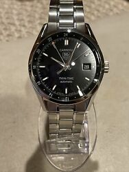 Tag Heuer Carrera Twin Time Gmt Automatic Steel Menandrsquos Watch 38mm 21 Jewel