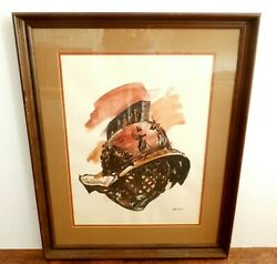 Original Michael Frary Conquistador Helmet Watercolor Painting Signed And Framed