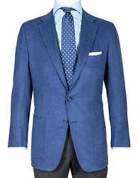 Kiton Jacket In Midnight Blue With Patch Pockets From Cashmere/silk Regeur5190