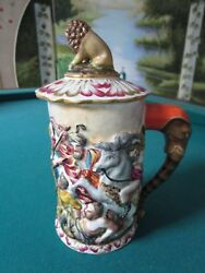 Capodimonte Covered Stein Battle And Lion Finial, Elephant Handle [b]