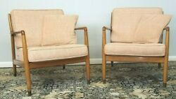 1950and039s Folke Ohlsson Lounge Chairs By Dux Original Fabric Pink Matching Pair