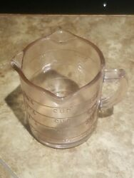 Vintage Pink 3 Spout Measuring Cup Glass 8 Ounce Free Shipping