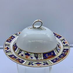 Vintage Meakin Sol Imari Pattern Gold Rim Dome Butter Cheese Dish Lid Strainer