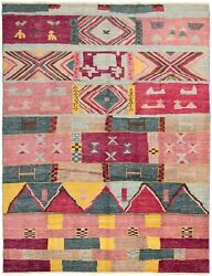 Modern Hand-knotted Carpet 9and0396 X 12and0393 Dark Pink Dark Red Wool Area Rug