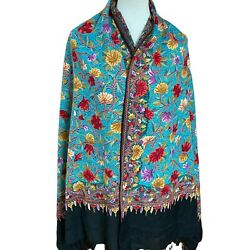 Kashmir Shawl Hand Embroidered Cashmere Hook Work Turquoise Indian Stole