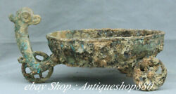 15old China Ancient Dynasty Bronze Ware Double Phoenix Head Freight Car Trolley